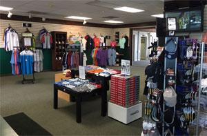 Bloomingdale Golf Shop interior shot, showing Shirts, Hats, Golf Balls and apparel