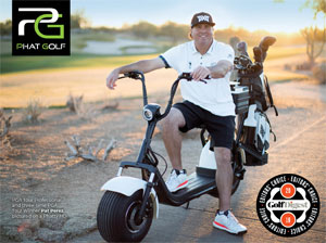 A Golfer sitting on a Phat Golf Scooter